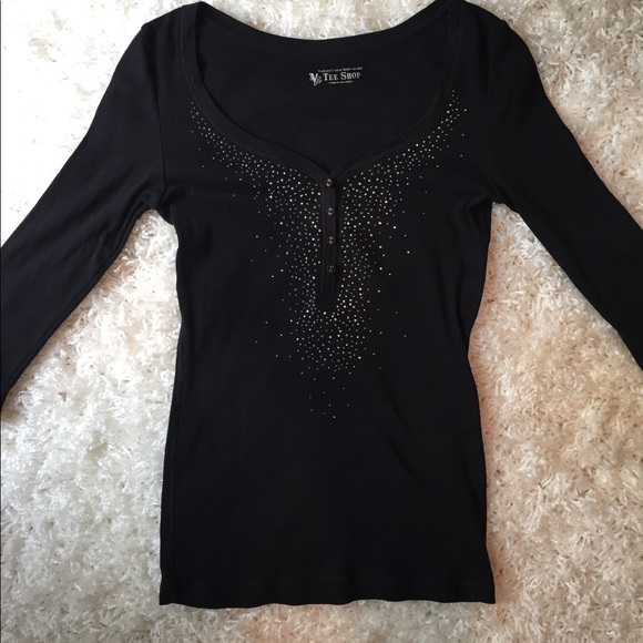 VS Tee Shop Tops - Black Embellished T-Shirt
